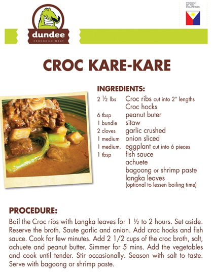 Crocodile recipes coral agri venture farm inc for Canape recipes with ingredients and procedure